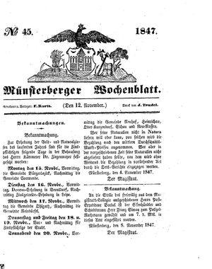 Münsterberger Wochenblatt vom 12.11.1847