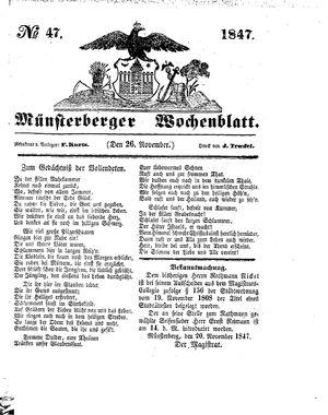 Münsterberger Wochenblatt vom 26.11.1847