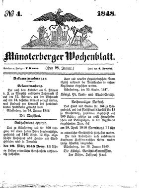Münsterberger Wochenblatt vom 28.01.1848