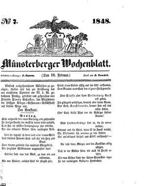 Münsterberger Wochenblatt vom 18.02.1848