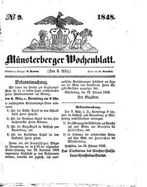 Münsterberger Wochenblatt vom 03.03.1848