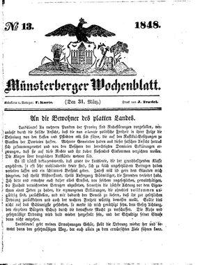 Münsterberger Wochenblatt vom 31.03.1848