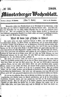 Münsterberger Wochenblatt vom 07.04.1848