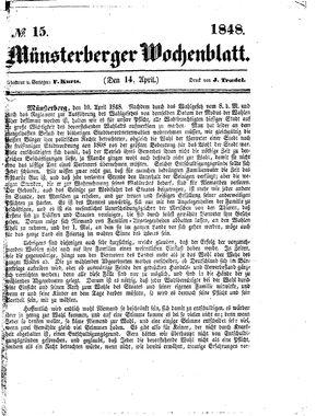 Münsterberger Wochenblatt vom 14.04.1848