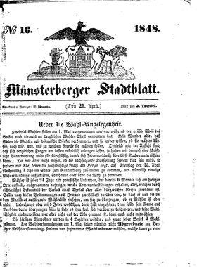 Stadt- und Wochenblatt vom 21.04.1848