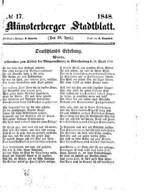 Stadt- und Wochenblatt vom 28.04.1848