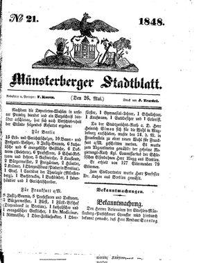 Stadt- und Wochenblatt vom 26.05.1848