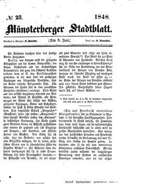 Stadt- und Wochenblatt vom 09.06.1848