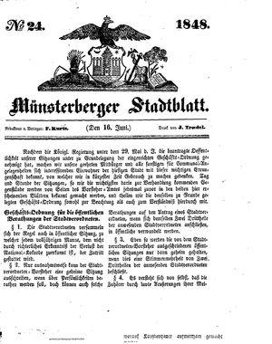 Stadt- und Wochenblatt vom 16.06.1848