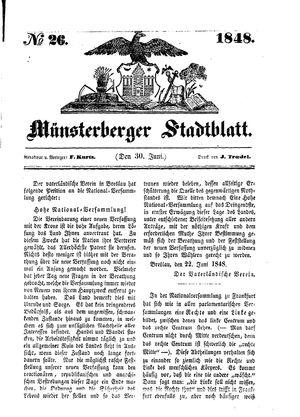 Stadt- und Wochenblatt vom 30.06.1848