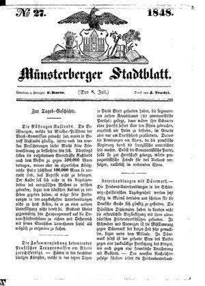 Stadt- und Wochenblatt vom 08.07.1848