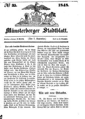 Stadt- und Wochenblatt vom 01.09.1848