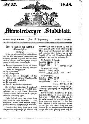 Stadt- und Wochenblatt vom 15.09.1848