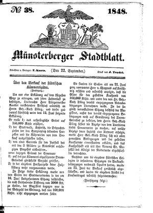 Stadt- und Wochenblatt vom 22.09.1848