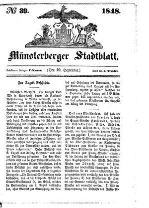 Stadt- und Wochenblatt vom 29.09.1848