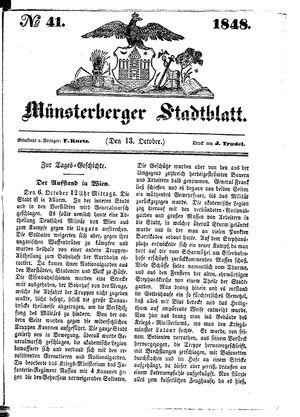 Stadt- und Wochenblatt vom 13.10.1848