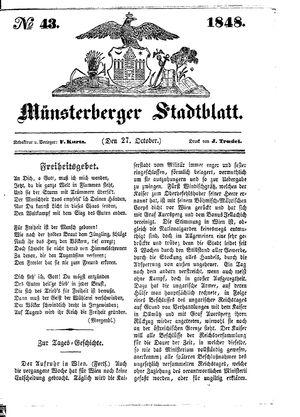 Stadt- und Wochenblatt vom 27.10.1848