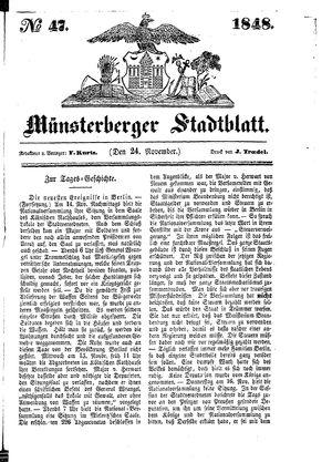 Stadt- und Wochenblatt vom 24.11.1848