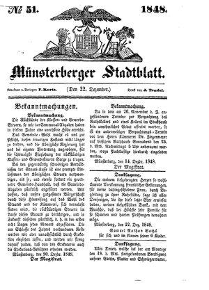 Stadt- und Wochenblatt vom 22.12.1848