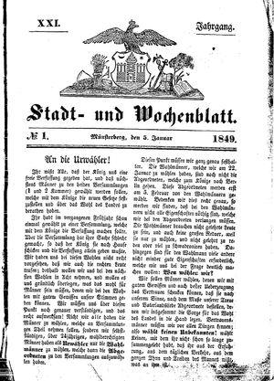 Stadt- und Wochenblatt vom 05.01.1849