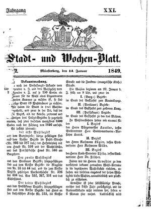 Stadt- und Wochenblatt vom 14.01.1849
