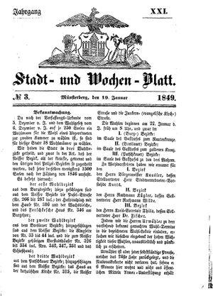 Stadt- und Wochenblatt on Jan 19, 1849