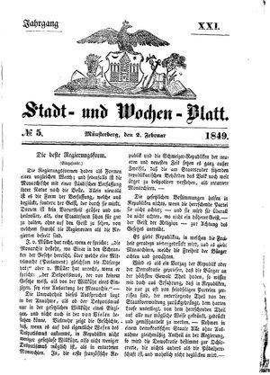 Stadt- und Wochenblatt vom 02.02.1849