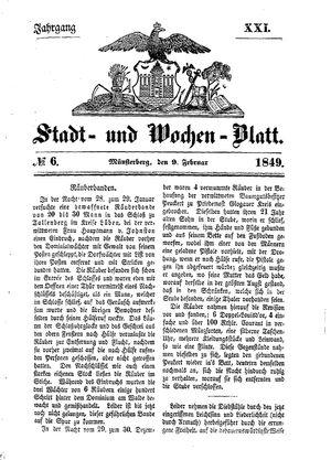 Stadt- und Wochenblatt vom 09.02.1849