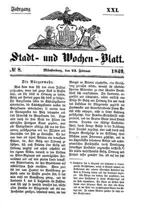 Stadt- und Wochenblatt vom 23.02.1849