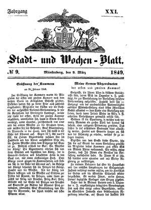 Stadt- und Wochenblatt vom 02.03.1849