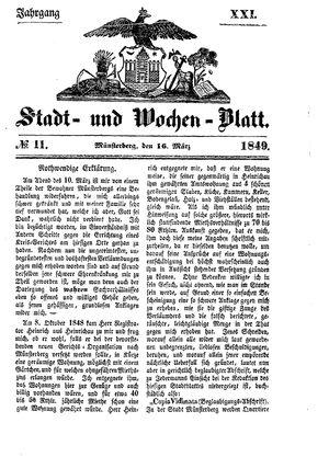 Stadt- und Wochenblatt vom 16.03.1849