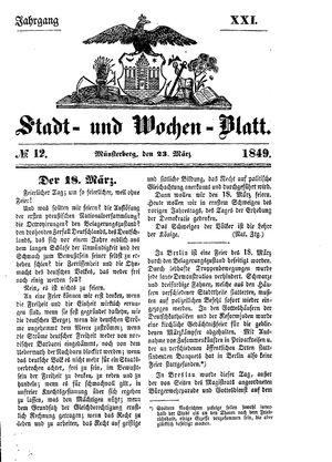 Stadt- und Wochenblatt vom 23.03.1849
