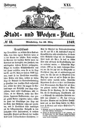 Stadt- und Wochenblatt vom 30.03.1849