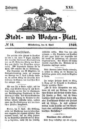 Stadt- und Wochenblatt vom 06.04.1849