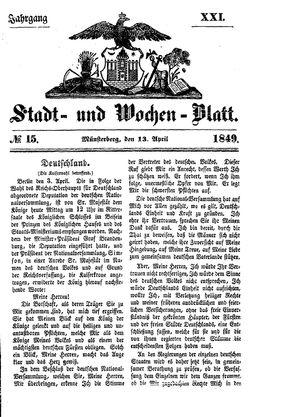Stadt- und Wochenblatt vom 13.04.1849