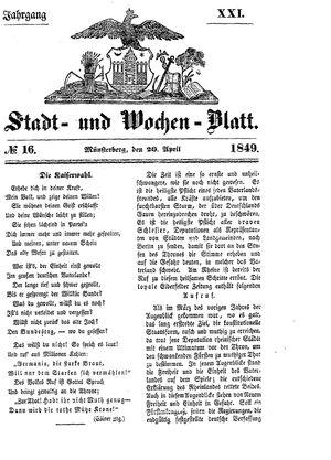 Stadt- und Wochenblatt vom 20.04.1849