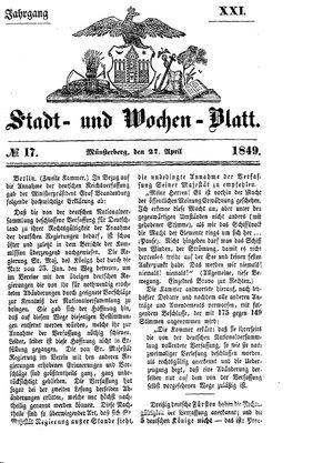 Stadt- und Wochenblatt vom 27.04.1849