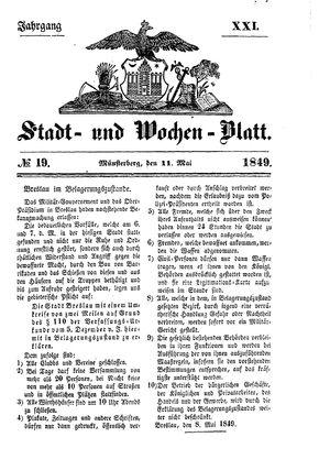 Stadt- und Wochenblatt vom 11.05.1849