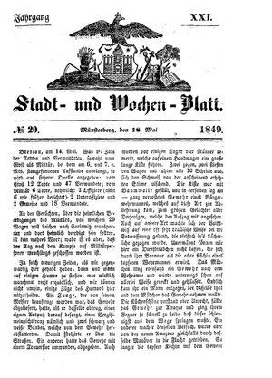 Stadt- und Wochenblatt on May 18, 1849