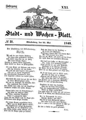 Stadt- und Wochenblatt vom 25.05.1849