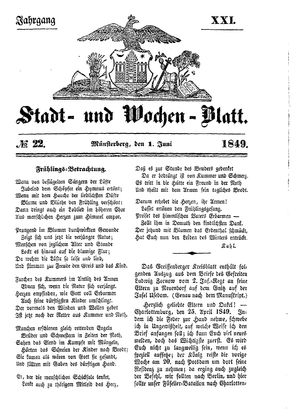 Stadt- und Wochenblatt vom 01.06.1849