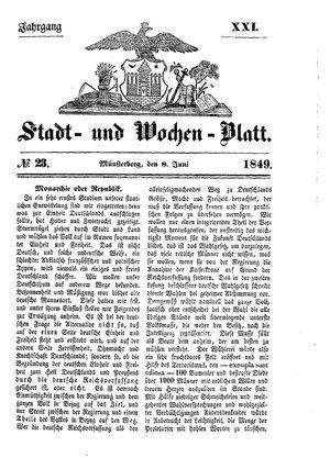 Stadt- und Wochenblatt vom 08.06.1849