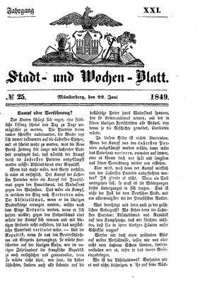 Stadt- und Wochenblatt vom 22.06.1849
