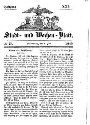 Stadt- und Wochenblatt on Jul 6, 1849