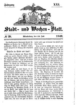 Stadt- und Wochenblatt on Jul 13, 1849