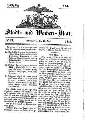Stadt- und Wochenblatt vom 20.07.1849
