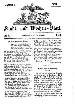 Stadt- und Wochenblatt vom 03.08.1849