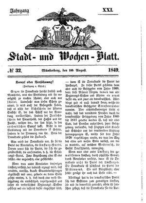 Stadt- und Wochenblatt vom 10.08.1849