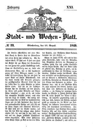 Stadt- und Wochenblatt vom 17.08.1849