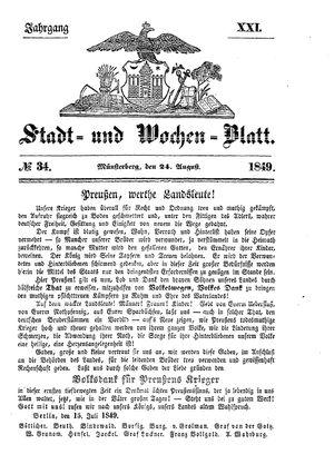 Stadt- und Wochenblatt vom 24.08.1849